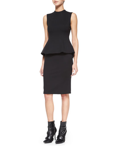 Structured Mock-Neck Peplum Dress