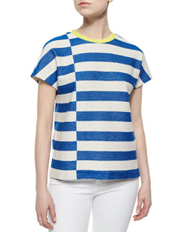 Tory Burch Short-Sleeve Striped Tee