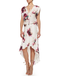 Haute Hippie Floral-Print Silk Drawstring Dress