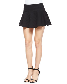 Alice + Olivia Drop-Waist Flared Mini Skirt, Black