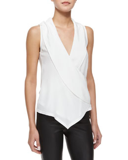 Alice + Olivia Sleeveless Asymmetric Wrap Top, Cream