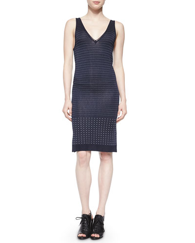 Abigale Dot-Knit Body-Conscious Dress