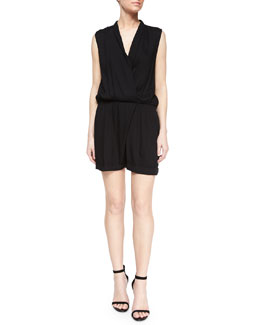Alice + Olivia Cai Shawl-Collar Short Jumpsuit, Black