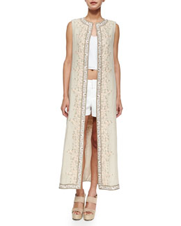 Alice + Olivia Estee Embroidered Open-Front Long Vest, Beige