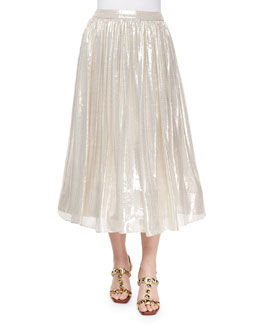 Alice + Olivia Evita Mid-Length Metallic Skirt, Silver