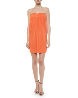 Alice + Olivia Jazz Center-Drape Strapless Dress, Coral