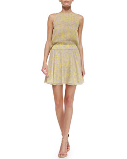 Halston Heritage Sleeveless Printed Flared Dress