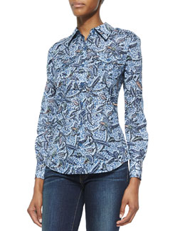 Tory Burch Brigitte Floral-Print Button-Down Blouse
