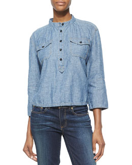 Tory Burch Shrunken Denim 3/4-Sleeve Shirt