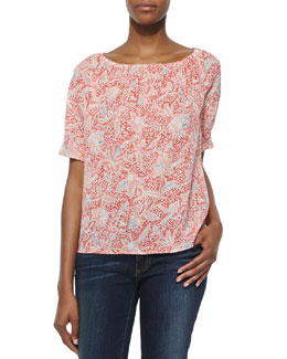Tory Burch Floral-Print Gauze Relaxed Tunic