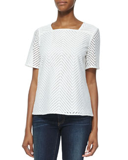 Tory Burch Chevron Eyelet Short Sleeve Top