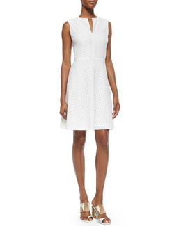 Tory Burch Sleeveless Eyelet Flare Dress