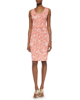 Tory Burch Sleeveless Printed Silk Interlock Sheath Dress