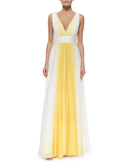 Halston Heritage Sleeveless Ombre Flowy Gown