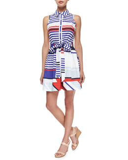 Milly Marina Sleeveless Striped Tie-Waist Shirtdress