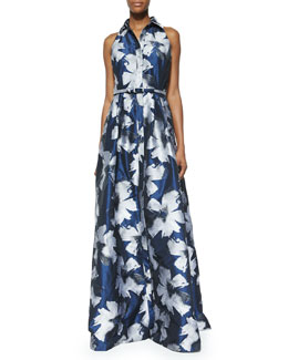 Carmen Marc Valvo Sleeveless Floral Belted Gown