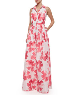 Carmen Marc Valvo Sleeveless Floral Belted Gown, Coral