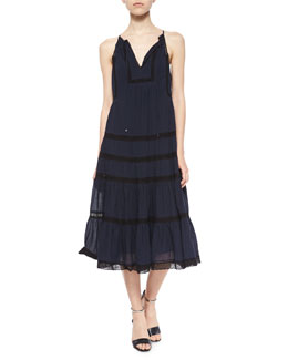 Rebecca Taylor Voile & Lace Sleeveless Dress, Navy