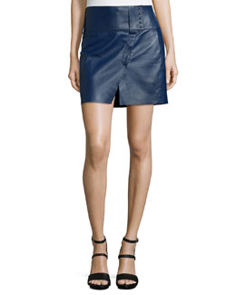 Derek Lam 10 Crosby Military Bonded Leather Skirt