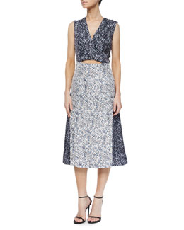 Derek Lam 10 Crosby Two-Tone Studded Floral-Print Dress