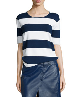 Derek Lam 10 Crosby Striped Short-Sleeve Knit Top, Soft White/Blue