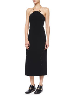 Derek Lam 10 Crosby Strapless Midi Dress W/ Detachable Necklace