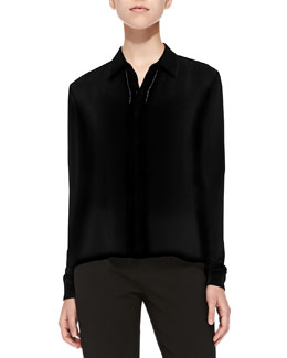 Alice + Olivia Perforated Long-Sleeve Silk Blouse