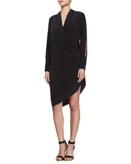 Sand-Washed Cutout-Sleeve Wrap Dress, Black