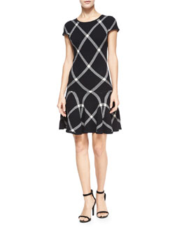 Alice + Olivia Diagonal Plaid Drop-Waist Dress, Black Pattern