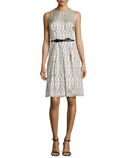 Geo-Jacquard Sleeveless Dress