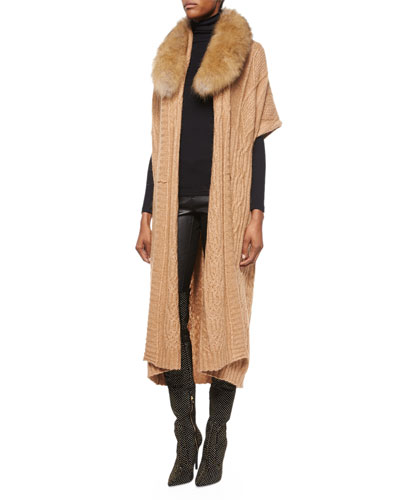 Klay Long Cable-Knit Cardigan W/Detachable Fur Collar