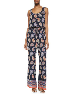 Tory Burch Sleeveless Paisley-Print Jumpsuit