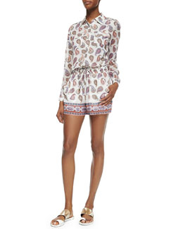 Tory Burch Brigitte Long-Sleeve Paisley Romper
