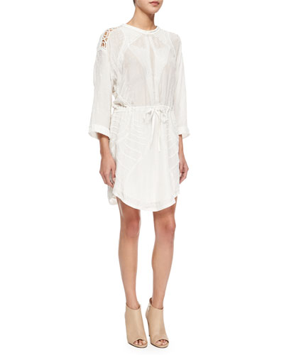 Anita Embroidered Drawstring Shirtdress
