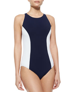 Tory Burch Colorblock One-Piece Swimsuit, Tory Navy/White