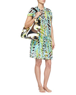 Emilio Pucci Printed Silk Drawstring Coverup Dress