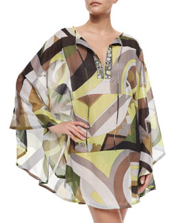Printed Voile Poncho Coverup