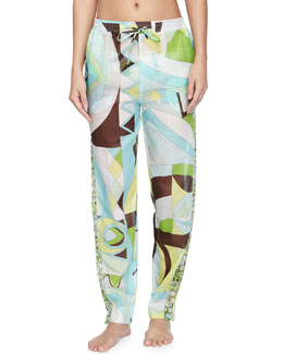 Emilio Pucci Printed Voile Tapered Coverup Pants