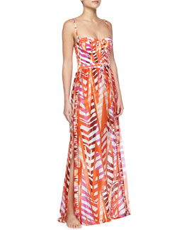 Printed Silk Gauze Maxi Skirt Coverup