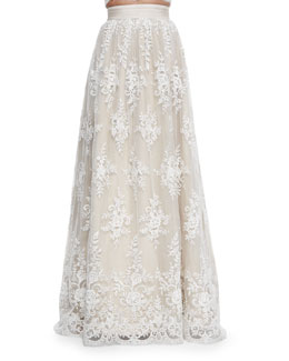 Alice + Olivia Carter Flared Embroidered Ball Skirt
