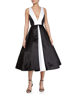 Alice + Olivia Brennan Deep-V Colorblock Dress, Black/White