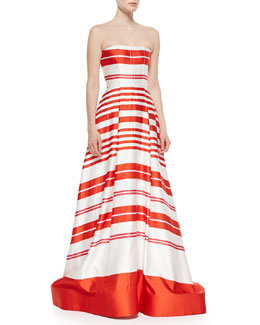 Alice + Olivia Aubrey Striped Strapless Ballgown, Orange/White