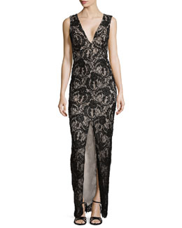 Alice + Olivia Caragen Lace Gown W/ Center Slit