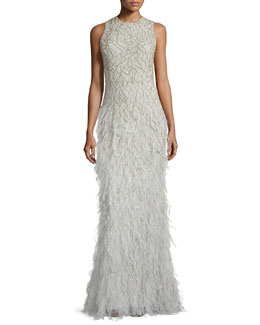 Alice + Olivia Vaughn Beaded Feather-Skirt Gown