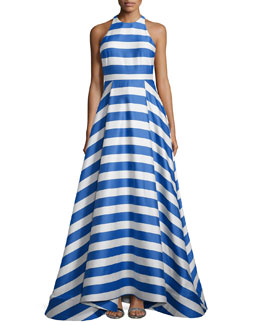 Alice + Olivia Marsha Striped Sleeveless Gown, Blue/White