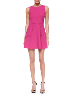 RED Valentino Sleeveless Scalloped Full Dress
