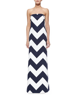 Milly Blari Strapless Chevron-Stripe Gown