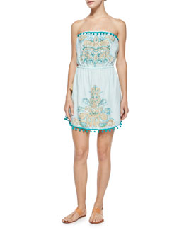 Calypso St. Barth Villy Embroidered Strapless Dress, Alight