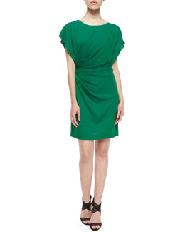 Diane von Furstenberg Ruched Jenna Sheath Dress, Hunter Green