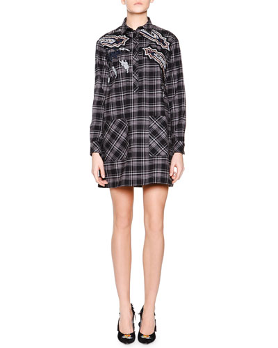 Long-Sleeve Check Chemise Dress